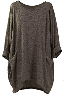 BODOAO Womens Loose Pocket Sweatshirts Casual Tunic Tops Long Sleeve Blouses