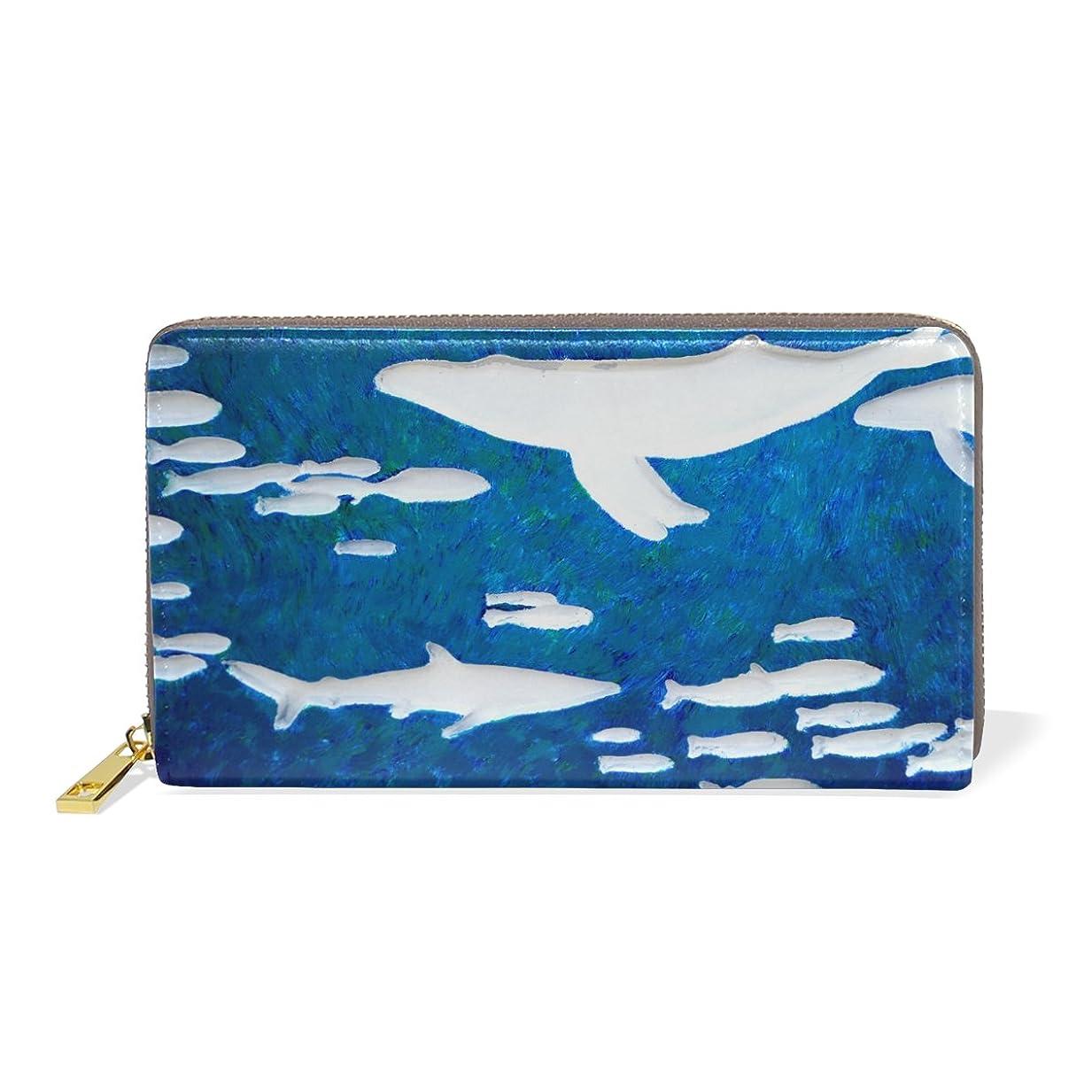測定オピエート適合するAOMOKI 財布 長財布 レディース 本革 大容量 ラウンドファスナー 通勤 通学 海 鯨 ブルー かわいい きれい