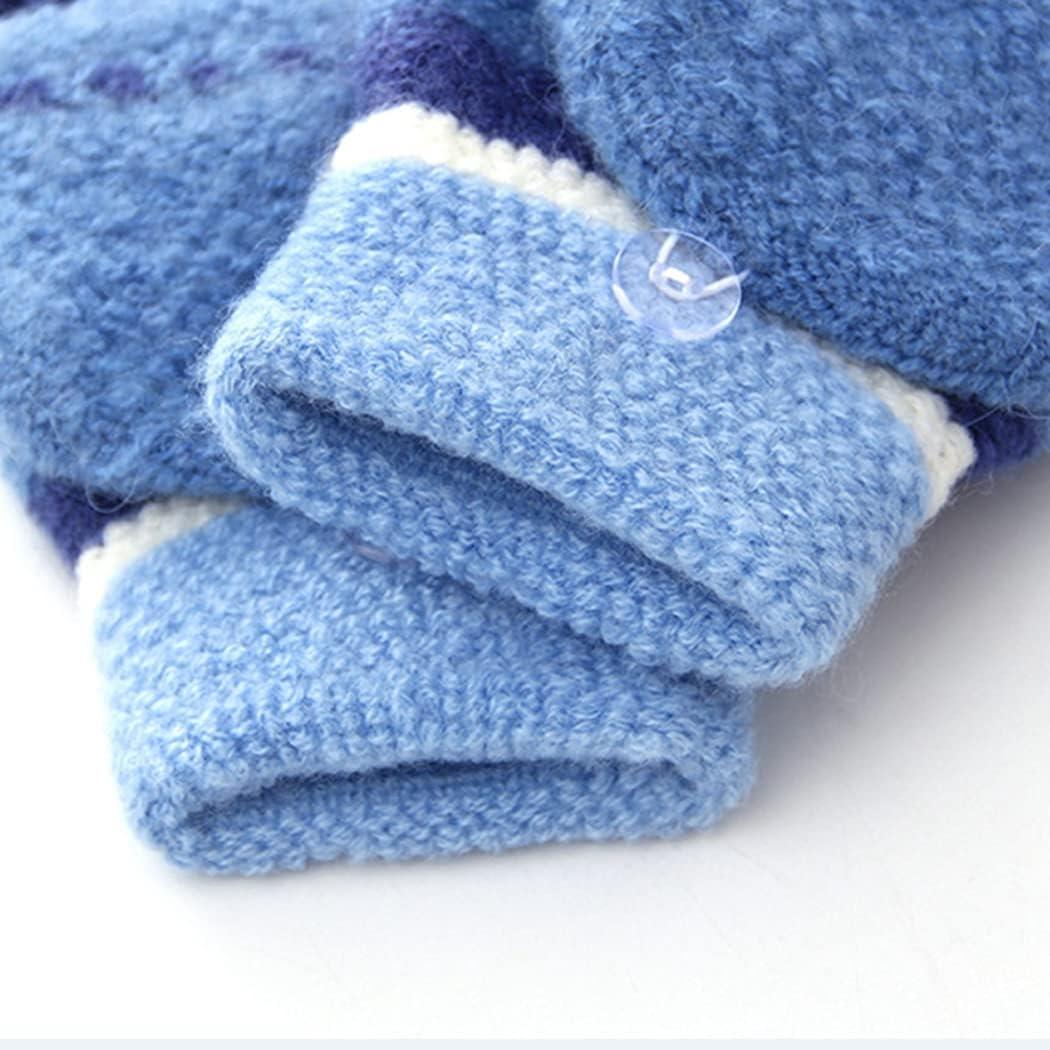 Licogel Fingerless Gloves Fashion Thick Knit Half Finger Mittens Flip Top Gloves for Kid Thickened Nonslip Unisex