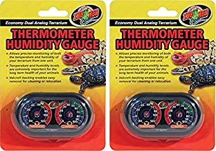 (2 Pack) Zoo Med Economy Analog Dual Thermometer and Humidity Gauge