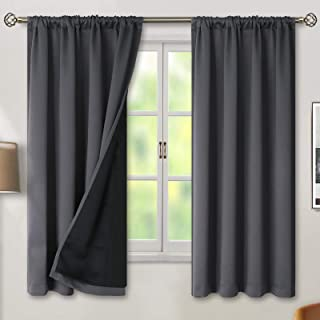 BGment Thermal Insulated 100% Blackout Curtains for Bedroom with Black Liner, Double Layer Full Room Darkening Noise Reduc...