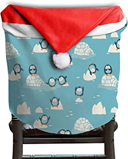 Will Budxegl Penguin Animals Beach Blue Art Cute Christmas Xmas Themed Dinning Seat Chair Cap Hat Covers Ornaments for Backers Slipcovers Wraps Coverings Decorations Protector Set Party