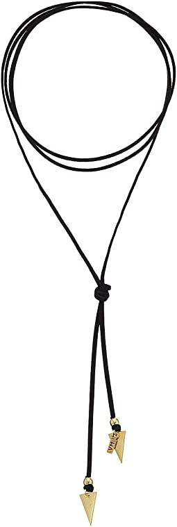 Black Suede Bolo with Arrows Necklace