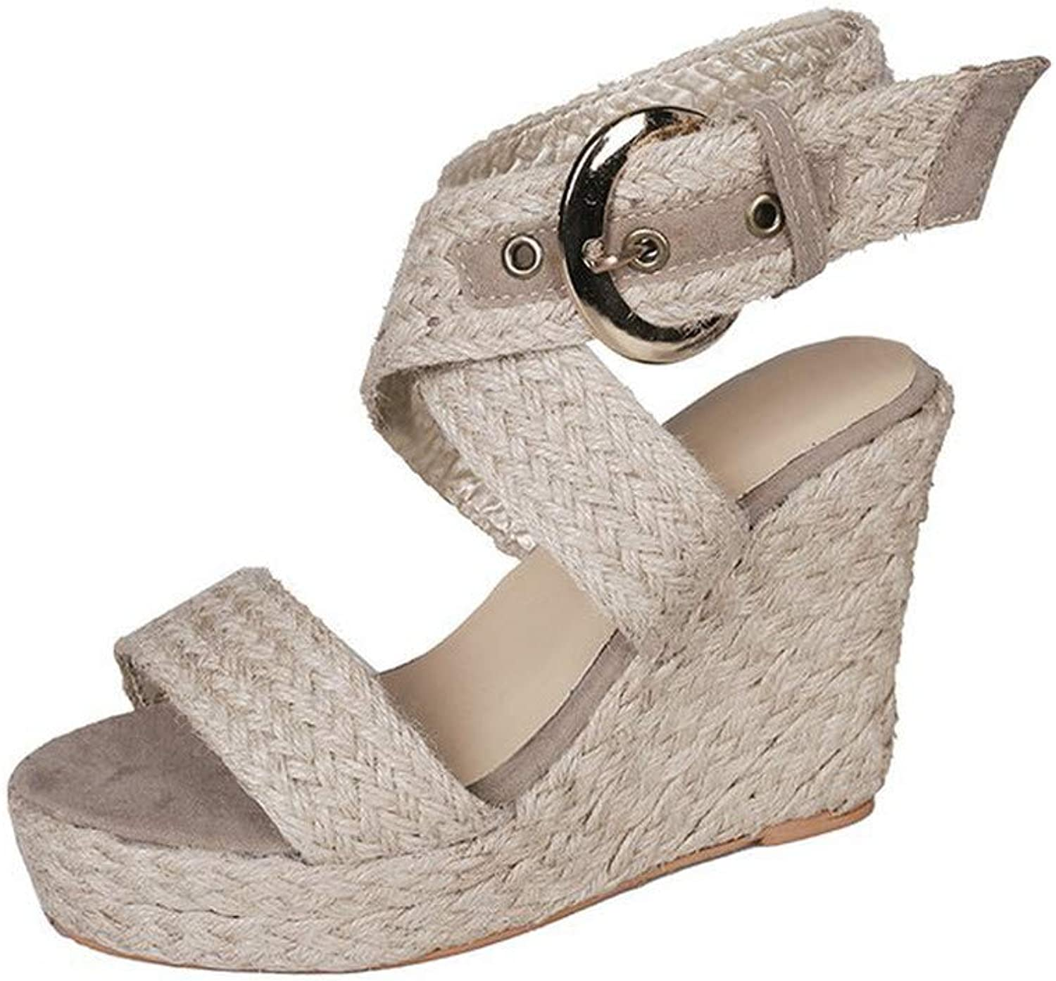 WTKRSM Women's Buckle with Wedge Sandals Open Toe Knit Upper Fashion Sandals
