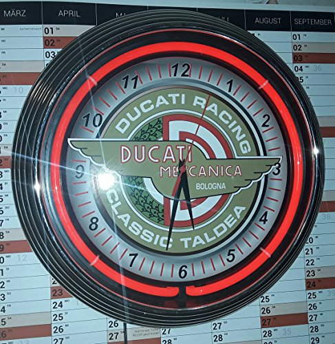 Neon reloj Ducati mecánica Bologna Classic Taldea Neon Reloj Rojo Reklame con iluminación–USA 50'S STYLE