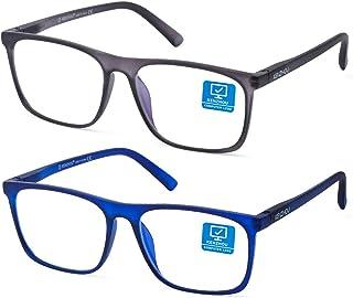 Blue Light Blocking Computer Gaming Glasses 2 Pack Anti Glare Eyestrain Unisex/Men/Women Glasses with Spring Hinges UV Protection