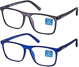 Blue Light Blocking Computer Gaming Glasses 2 Pack Anti Glare Eyestrain Unisex/Men/Women Glasses with Spring Hinges UV Pro...