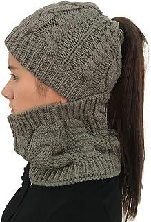 MINAKOLIFE Womens Girls Winter Warm Knitted Ponytail Beanies Skull Cap & Neck Scarf Sets