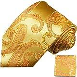 Krawatten Set 2tlg 100% Seide gold ornamente Seidenkrawatten mit Einstecktuch