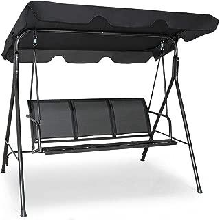 Stark Item Outdoor Patio Swing Canopy 3 Person Canopy Swing Chair Patio Hammock Black