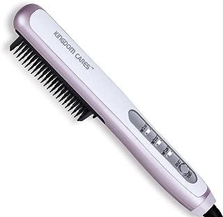 KINGDOMCARES Hair Straightener Brush, PTC Faster Heating Straightening Brush Styler At Home Purple