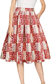 Howely Women Floral Printed Light Weight Ruffle A-line Beach Midi Skirt
