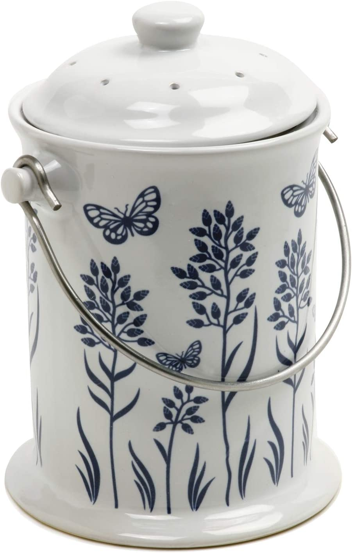 Norpro Ceramic Floral Blue/White Compost Keeper, 3-Quart