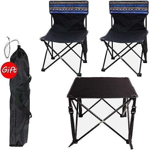 BAOFI Pliante Portable Chaise de Camping, D'extérieur Légère Plage Longue Randonnee Transat Pliable Tabouret Fauteuil Tableau Dossier Haut Confortable Set