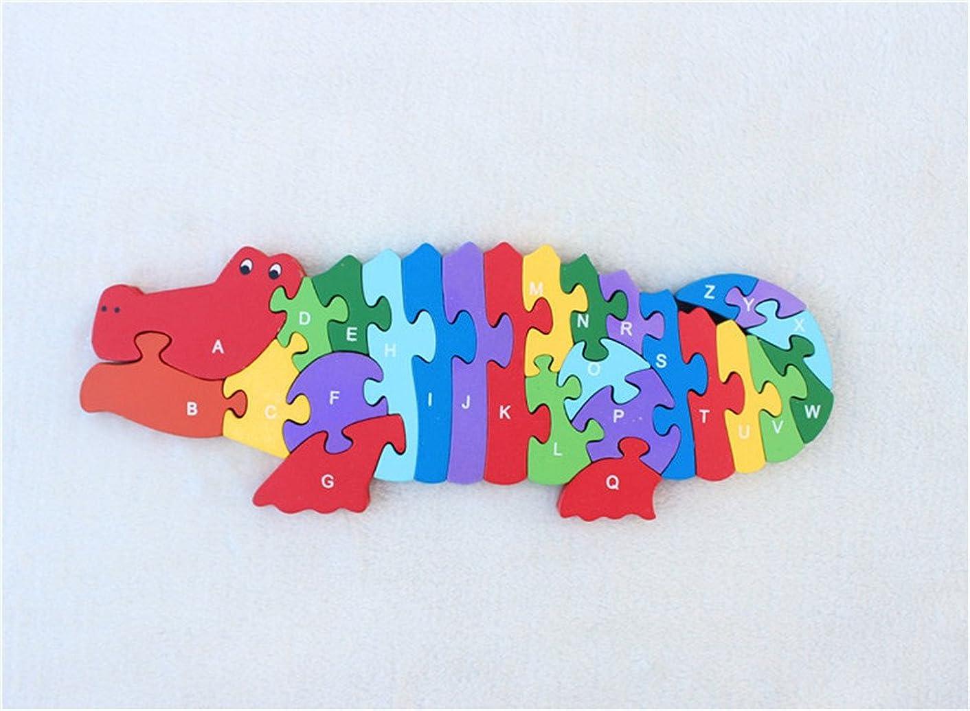 Queenie Colorful Cute Crocodile Shape Wooden Jigsaw Intellectual Building Blocks Children Early Education Puzzle Jigsaw
