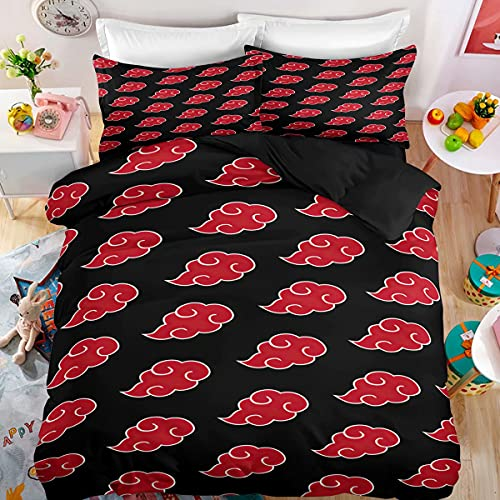 Haonsy Kids Akatsuki Bedding Duvet Cover Bed Set Queen 3D Anime Naruto Comforter Set for Boys Girls 1 Bedding Cover 2 Pillow Shams