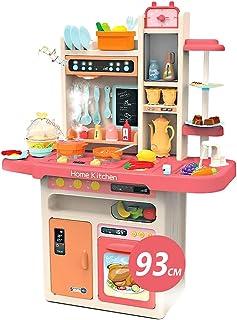 E T EASYTAO Cocina de Juguete para Niños de 65 Piezas con Humo, Luz, Sonido y Grifo para Salir Agua, Juguete Infantil Dive...
