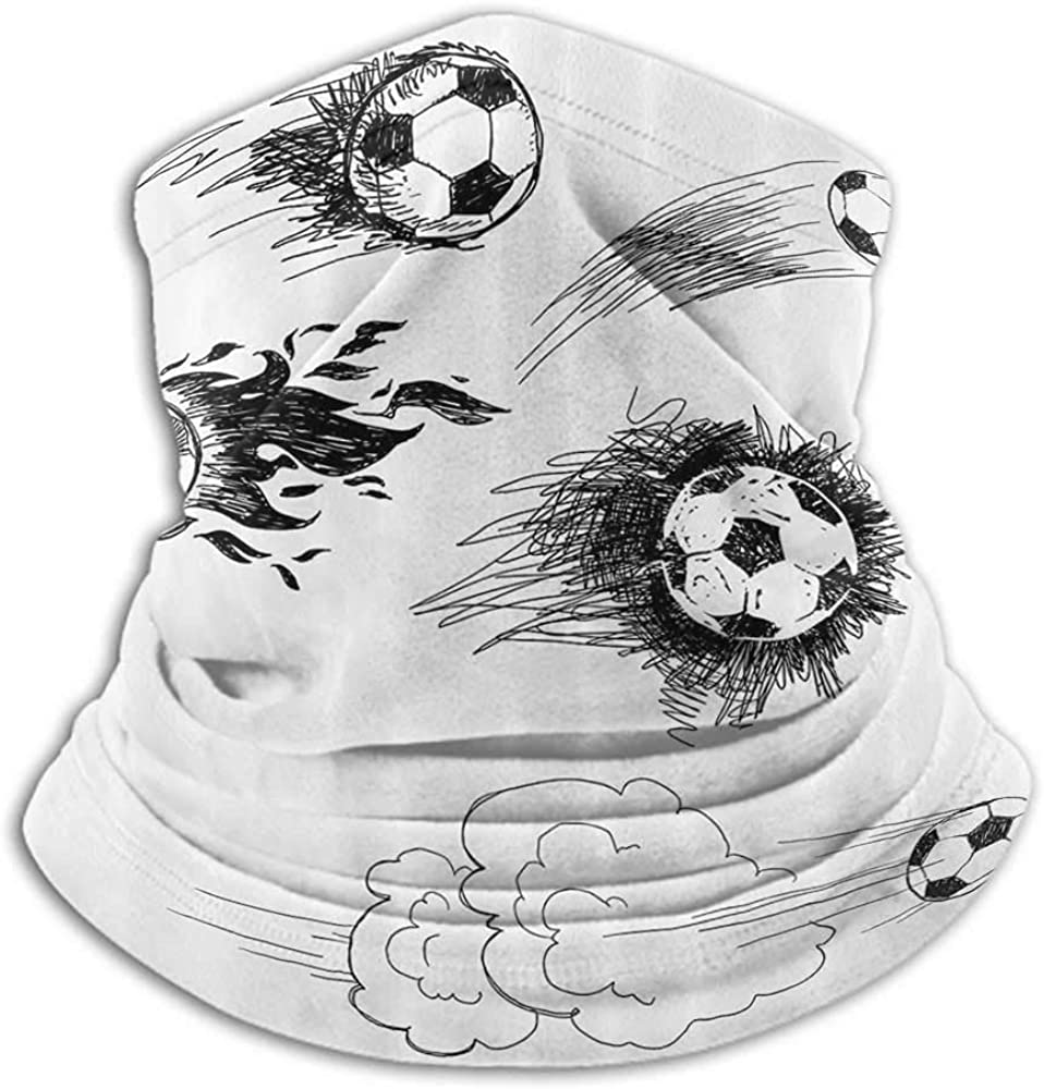 Neck Gaiter Women Sports Decor Sun Protection Windproof, Fishing Running Cycling Various Round Soccer Balls In Air Fast Kick Shoot In Flame Kickoff Space Artsy Sketch Black White