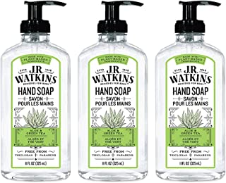 JR Watkins Gel Hand Soap, Aloe & Green Tea, 3 Pack, Scented Liquid Hand Wash for Bathroom or  Kitchen, USA Made and Cruelty Free, 11 fl oz