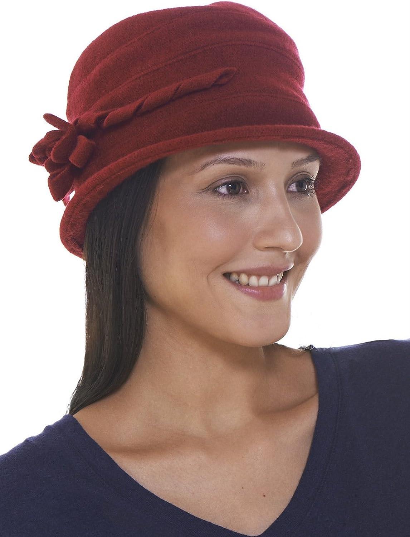 Retreez Women Classic pink Floral Flower Wool Cloche Bucket Winter Hat