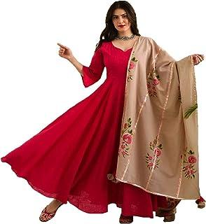 Monika Silk Mill Women's Red Cotton Silk Semi Stitched Long Anarkali Gown with Printed Dupatta - Free Size