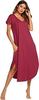 ثوب نوم نسائي كاجوال برقبة على شكل حرف V بأكمام قصيرة من متجر Ekouaer Sleepwear S-XXL