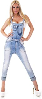 Realty Women's Dungaree Studded Cropped Denim Overalls