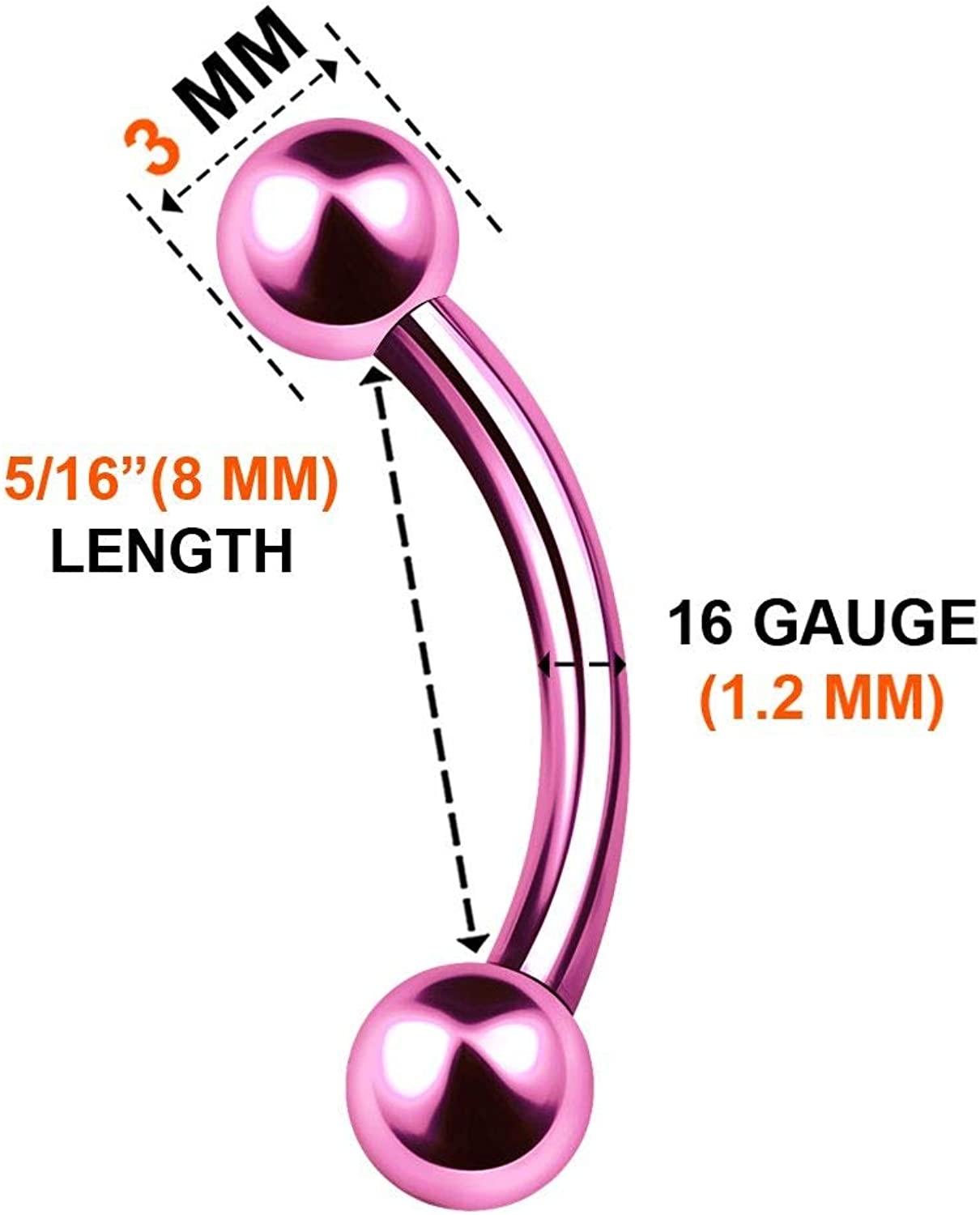 KJM FASHION 6PCS Surgical Steel Anodized Curved Barbell Ring Ball Cartilage Tragus Rook Labret Earrings Eyebrow Piercing Jewelry