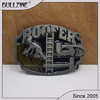 Buckes - Wholesale Roofer Belt Buckle with Pewter Finish FP-02171 Suitable for 4cm Width on Belt