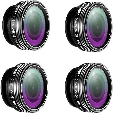 Neewer® 4 件套 3 合 1 夹式镜头套件,适用于 Android 平板电脑、iPad、iPhone、三星盖乐世和其他智能手机,包括:(4)180 度双倍镜头+(4)2 合 1 微距镜头和广角镜头+(4) 镜架