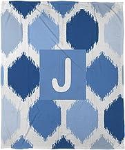 بطانية صوف مرجان من Manual Woodworkers & Weavers مقاس 76.2 سم × 101.6 سم، مطبوع عليها حرف J باللون الأزرق الباتيك