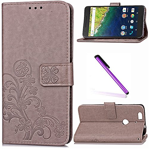 Huawei Nexus 6P Case, Google Nexus 6P Case LEECOCO Embossed Lucky Clover Floral with Card Cash Slots Magnetic Folio Flip Kickstand PU Leather Wallet Case Cover for Huawei Nexus 6P Clover Gray