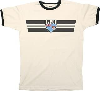 Mens FIJI RETRO STRIP Patriotic Ringer T-Shirt