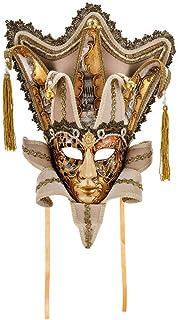 Maschera Decorativa Originale Veneziana Fatta A Mano - Decoro Acquerello Rame E Oro Con Corona E Punte In Carta E Fiocchi ...