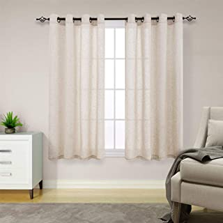 jinchan Linen Textured Curtains for Living Room Grommet Top Window Treatment Set for Bedroom 2 Panels 63 inches Long Crude