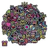 Q-Window Lot Autocollant Graffiti Vinyle Stickers Déco pour Ordinateur Portable, Valises, Enfants, Skateboard, Voiture, Moto, Snowboard, IPhone, Nintendo Bomb (100 Autocollants au néon)