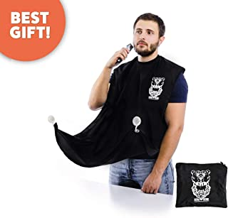 Bear's Beard Beard Bib + Good Gift - Beard Catcher Apron for Trimming Your Beard - to Keep Yourself and your Sink Clean - Perfect Gift for Men (Black)