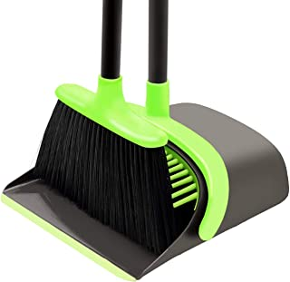 Broom and Dustpan Set Cleaning Supplies - Upright Broom and Dustpan Combo with Long Extendable Handle for Home Kitchen Roo...