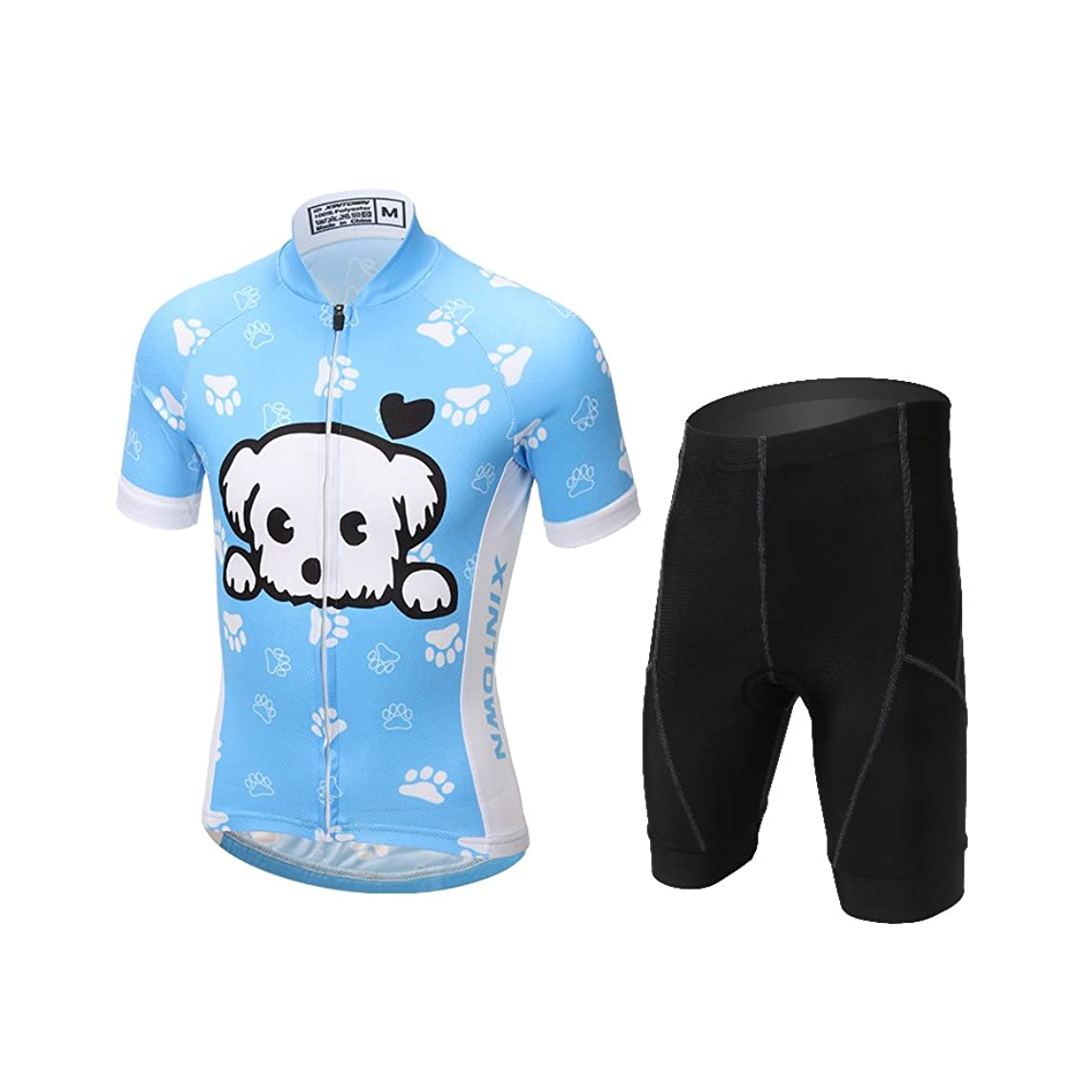 CH&Q Kids Cycling Jersey Set Boys Girls 3D Padded Shorts Road Mountain Bike Short Sleeve Jersey Set/Top/Shorts
