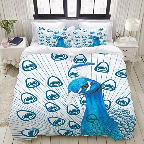Rorun Bettbezug-Set, Tierfarbe Bleistift Handzeichnung Pfau, Bunte dekorative 3-teilige Bettwäsche-Set mit 2 Kissen Shams