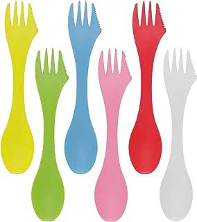 HONBAY 6PCS Colorful BPA Free Tritan Sporks Versatile 3 in 1 Utensil Spoon, Fork & Knife Combo Flatware for Outdoor Activities