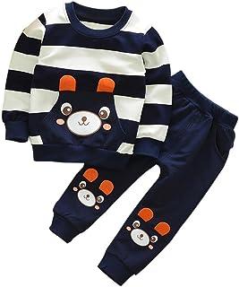 2-5 años Niño Niña Oso Rayado Patrón Tops + Pantalones Otoño/ Invierno Ropa Conjuntos (2 años, Navy)