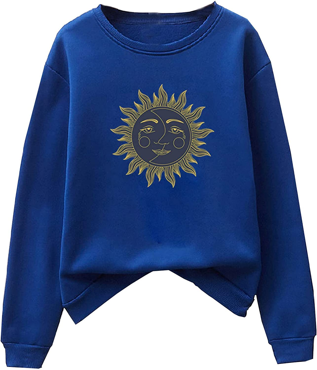 Women's Casual Solid Long Sleeve Tee Shirts Sun Printed Pullover Tops Round Neck Graphic Sweatshirt