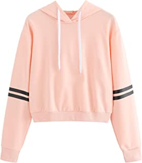 b8a1808f MAKEMECHIC Women's Long Sleeve Letter Print Sweatshirt Crop Top Hoodies