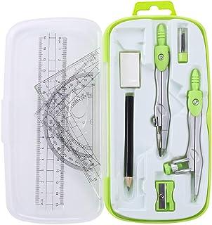 کیت هندسه ریاضی Unjoo 10 قطعه لوازم دانشجویی با جعبه ذخیره سازی ضد شکست ، شامل حاکمان ، زاویه سنج ، قطب نما ، پاک کن ، تیزکننده مداد ، پر کردن مجدد سرب ، مداد ، برای طراحی و ترسیم (سبز