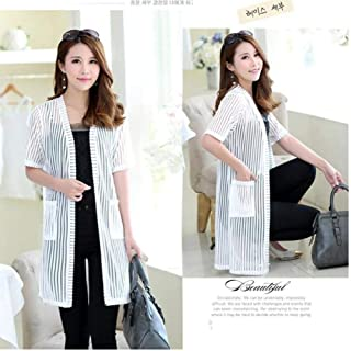 Lace Shawl Jacket Female Summer Sunscreen Clothing Long Mesh Gauze Chiffon Striped Long-Sleeved Jacket Plus Size 4Xl
