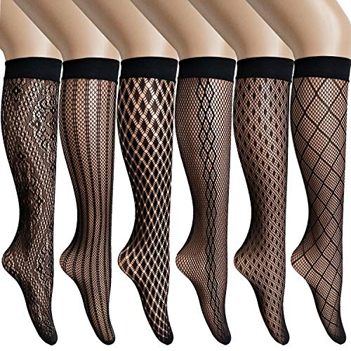 ANDIBEIQI 6 Pairs Womens Stay Up Knee High Patterned Trouser Socks Fishnet Stockings Black One Size Black