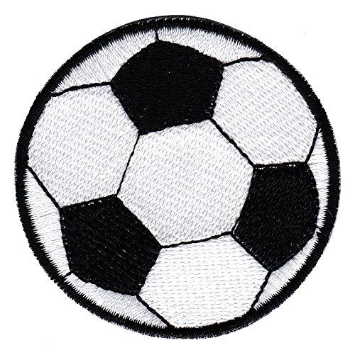 Unbekannt Fussball Ball Fußball Aufnäher Bügelbild Aufbügler Iron on Patches Applikation (Schwarz)