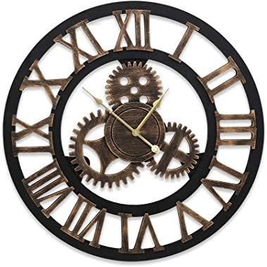 Wall Clock Extra Large 3D Silent Rustic Wooden Luxury Art Vintage Large Gear
