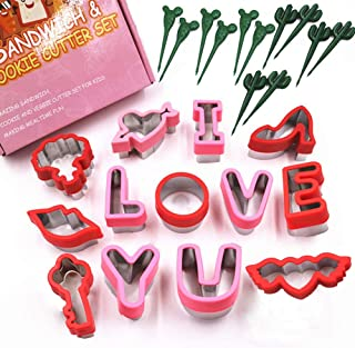 Valentines Day Cookie Cutter Set 25 Piece, I Love You Letters Stainless Steel Cookie Cutter Set, Baking and Food Sandwhich...